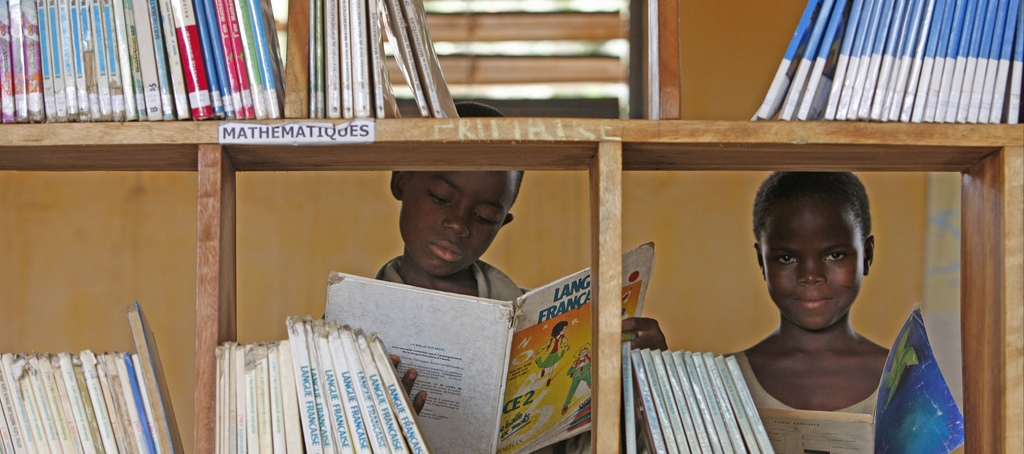Bibiothèque scolaire d'une école primaire africaine.